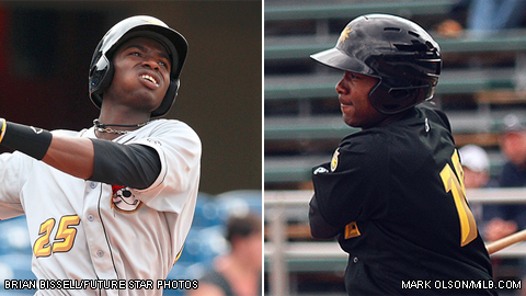 Gregory Polanco (left) and Josh Bell were teammates briefly last season in West Virginia.